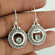 Indian Sterling Silver Jewellery Ethnic Blue Topaz Gemstone Earrings Fournisseur