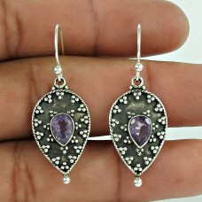 Sterling Silver Jewellery High Polish Amethyst Gemstone Earrings Wholesaler India