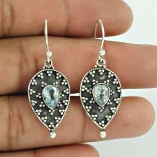 925 Sterling Silver Jewellery Charming Blue Topaz Gemstone Earrings Großhandel