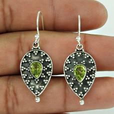 925 Sterling Silver Jewellery Fashion Peridot Gemstone Earrings Supplier India