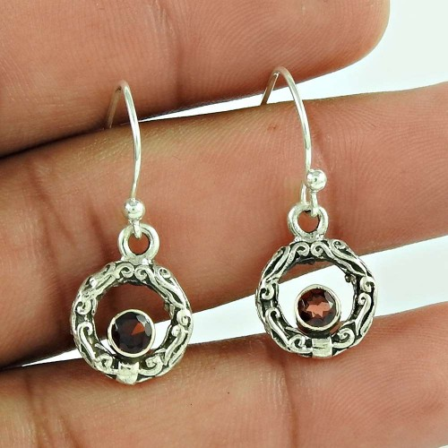 925 Sterling Silver Jewellery Beautiful Garnet Gemstone Earrings Exporter India