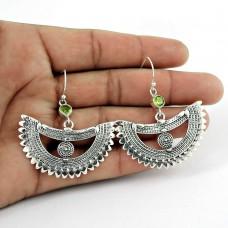 925 Sterling Silver Jewellery Ethnic Peridot Gemstone Earrings Al por mayor