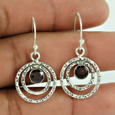 925 Sterling Silver Jewellery Ethnic Garnet Gemstone Earrings Manufacturer