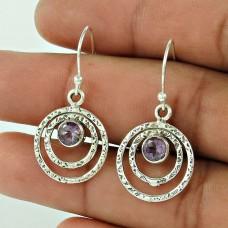 925 Sterling Silver Jewellery High Polish Amethyst Gemstone Earrings Proveedor