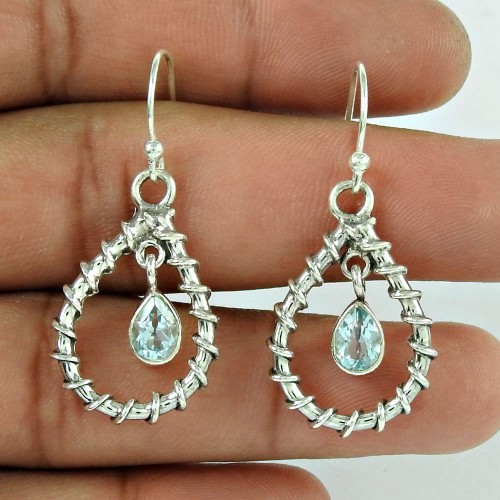 Sterling Silver Jewellery Traditional Blue Topaz Gemstone Earrings Wholesaler India