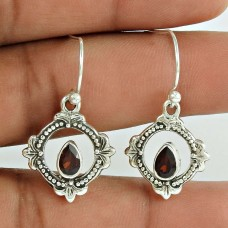 925 Sterling Silver Jewellery Ethnic Garnet Gemstone Earrings Exporter India
