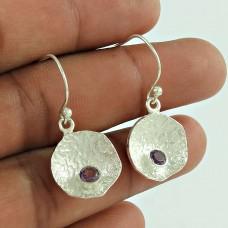 Virtual Round Shape Amethyst Gemstone Earring 925 Sterling Silver Jewellery