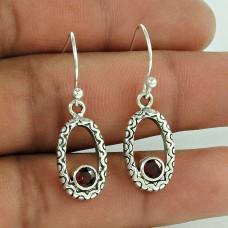 925 Sterling Silver Vintage Jewellery Fashion Garnet Gemstone Earrings Proveedor