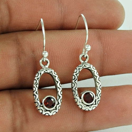 925 Sterling Silver Vintage Jewellery Fashion Garnet Gemstone Earrings Proveedor