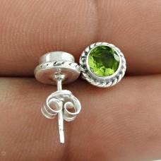 Indian Sterling Silver Jewellery Charming Peridot Gemstone Earrings Wholesale Price