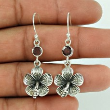 925 Sterling Silver Jewellery Ethnic Garnet Gemstone Earrings Wholesaler