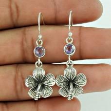 925 Sterling Silver Jewellery Traditional Amethyst Gemstone Earrings Wholesaling