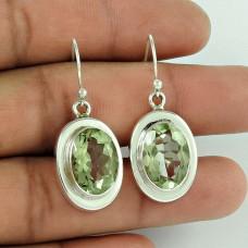 925 Sterling Silver Jewellery High Polish Green Amethyst Gemstone Earrings Fabricant