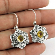 925 Sterling Silver Fashion Jewellery Charming Citrine Gemstone Earrings Wholesaler India