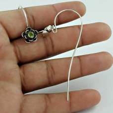 925 Sterling Silver Indian Jewellery Traditional Peridot Gemstone Earrings Exporter India