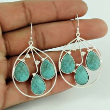 925 Sterling Silver Jewellery Charming Turquoise Gemstone Earrings Manufacturer India