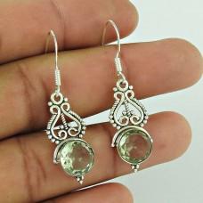Well-Favoured 925 Sterling Silver Green Amethyst Gemstone Earring Jewellery