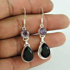 925 Sterling Silver Jewellery Fashion Black Onyx,Amethyst Gemstone Earrings Exporter