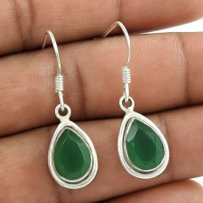 Indian Sterling Silver Jewellery Ethnic Green Onyx Gemstone Earrings Fournisseur