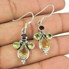 925 Silver Jewellery Beautiful Citrine, Garnet, Peridot Gemstone Earrings De gros