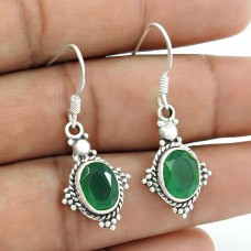 925 Sterling Silver Indian Jewellery Traditional Green Onyx Gemstone Earrings Fabricant
