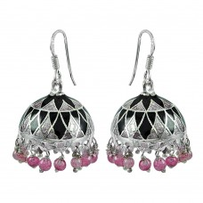 925 Sterling Silver Fashion Jewellery Charming Enamel Handmade Earrings Wholesale Price
