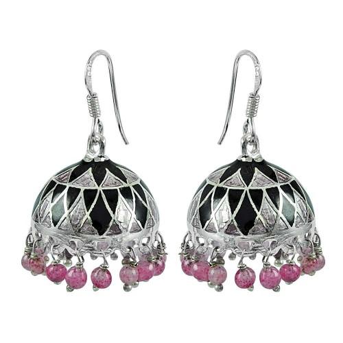 925 Sterling Silver Fashion Jewellery Charming Enamel Handmade Earrings Wholesale Price