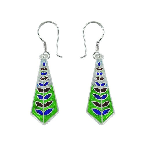 Cute Inlay 925 Sterling Silver Earrings Proveedor