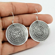 925 Sterling Silver Antique Oxidised Jewellery Designer Silver Earrings Exporter