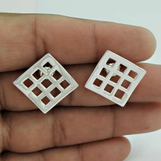 Square !! 925 Sterling Silver Earrings Wholesaling