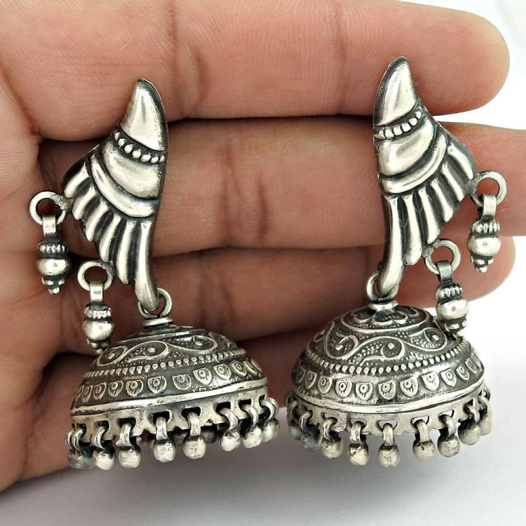 Fantastic! 925 Sterling Silver Jhumka Earrings Wholesale Price