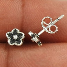 Afternoon Sun ! Flower Design 925 Sterling Silver Stud Earrings Wholesaler