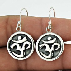 Big Excellent!! 925 Sterling Silver OM Dangle Earrings Proveedor