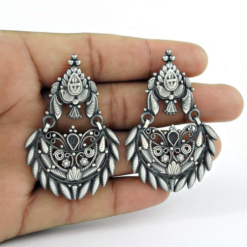 Perfect 925 Sterling Silver Earrings Oxidised Sterling Silver Jewellery