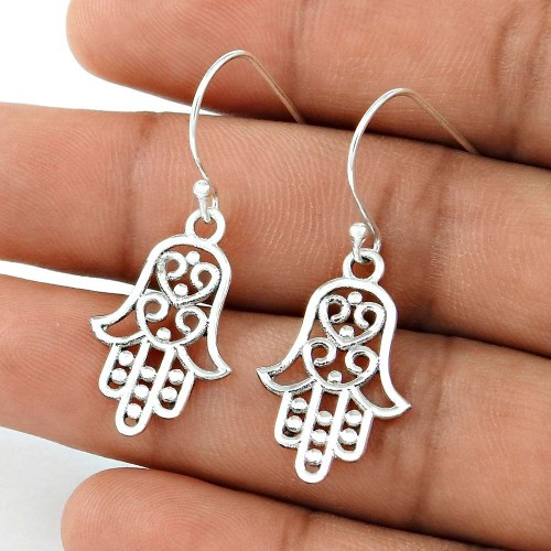 New Style Solid 925 Sterling Silver Hamsa Earrings Jewellery Wholesaling