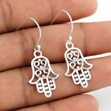 Faceted Solid 925 Sterling Silver Hamsa Earrings Jewellery Wholesale