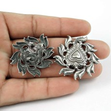 Rava Work Oxidised 925 Sterling Silver Handmade Earrings Jewellery Grossiste