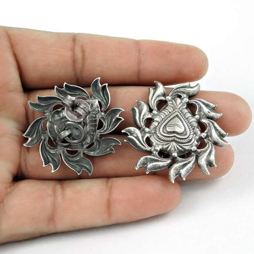 Rava Work Oxidised 925 Sterling Silver Handmade Earrings Jewellery Grossiste