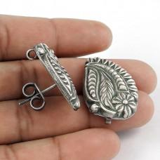 Leaf Design 925 Sterling Silver Handmade Stud Earrings Jewellery Fournisseur