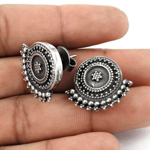 Best Design Solid 925 Sterling Silver Handmade Stud Earrings Jewellery Großhandel