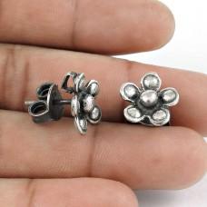 Solid 925 Sterling Silver Handmade Flower Stud Earrings Jewellery Wholesaler
