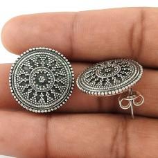 Big Natural Solid 925 Sterling Silver Stud Earrings Al por mayor