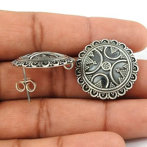 Breathtaking Solid 925 Sterling Silver Stud Earrings Fabricante