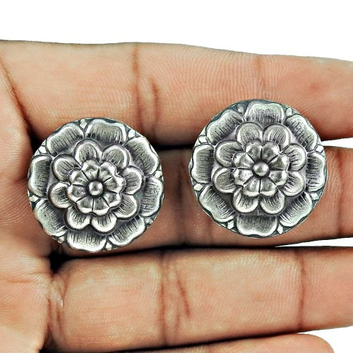 925 Sterling Oxidised Silver Jewellery Traditional Silver Stud Earrings