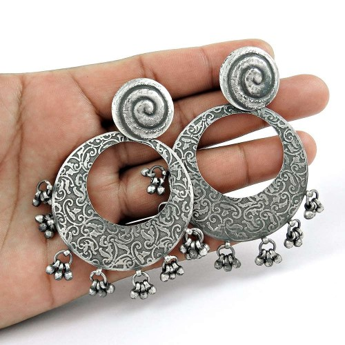 Oxidised 925 Sterling Silver Jewellery Beautiful Silver Drop Earrings Manufacturer