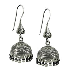 Oxidised Indian Sterling Silver Jewellery Handmade Silver Jhumki Earrings