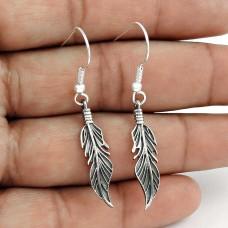 Party Wear Oxidised Sterling Silver Leaf Earrings Sterling Silver Fashion Jewellery