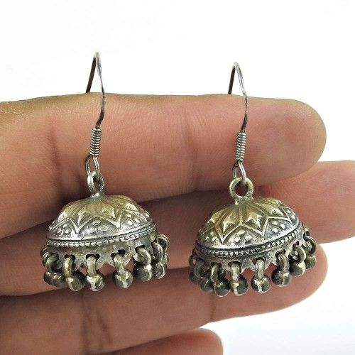 Oxidised Sterling Silver Vintage Jewellery Excellent Sterling Silver Handmade Jhumki
