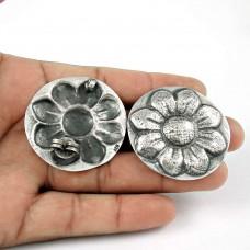 Oxidised Sterling Silver Handmade Jewellery Moon Stud Earrings Wholesaler India