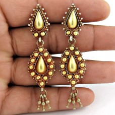 Beautiful Gold Plated 925 Sterling Silver Ethnic Earrings